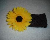 "Brown 2.5"" crochet headband w/detachable yellow flower clip   On Sale"