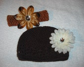 3-9 month Girls crochet hat w/detachable flower clip & headband  CLEARANCE