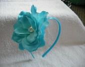 Turquoise blue headband w/turquoise crystal rose flower