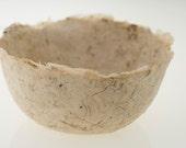 Cream Fawn Decorative Bowl handmade paper papier mache with bark fragments
