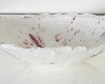 White Red Bowl Handmade Paper Bowl, white decorative paper papier mache formed bowl with deep red petals & seeds original artwork