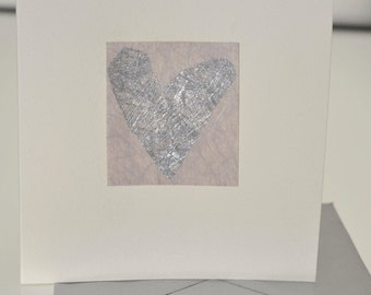 Heart Handmade Greetings Card, with a silver heart, Wedding, engagement, birthday, anniversary, someone special, love you