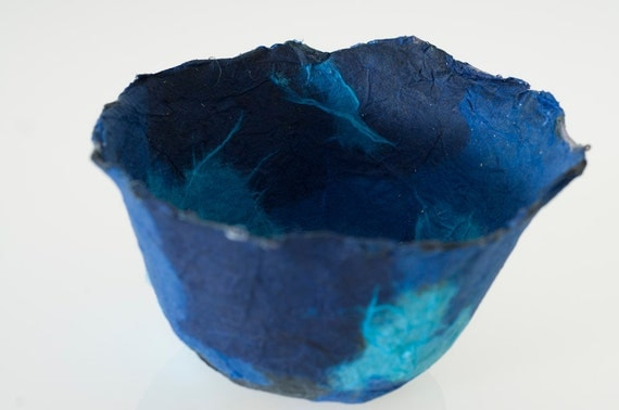 Blue Bowl Decorative Handmade Paper Bowl, ocean blue paper papier mache bowl original art