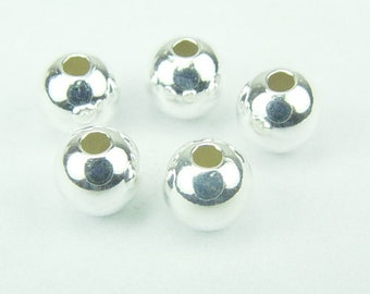 925 Sterling Silver 5mm Seamless Round Spacer Beads 20pcs