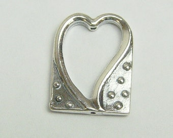 925 Sterling Silver 13x18mm Heart Frame Pendant 1pc