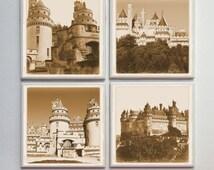 Chateau de Pierrefonds -- Ceramic Tile Designer Coasters -- 4pc. Set -- Sepia Vintage Tones