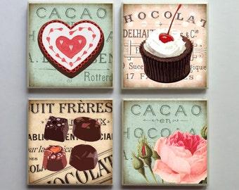 Shabby Chocolate 'n' Roses - Ceramic Tile 4-pc. Refrigerator Memo Magnet Set Magnets - No. 101