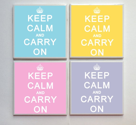 Keep Calm and Carry On -- Ceramic Tile Designer Coasters -- 4pc. Set -- Aqua Pink Yellow Lavender