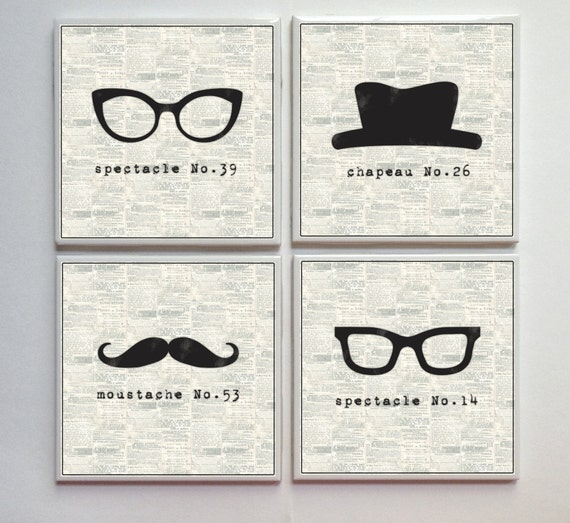 I Spy a Disguise -- Ceramic Tile Designer Coasters -- 4pc. Set -- Black White Cream