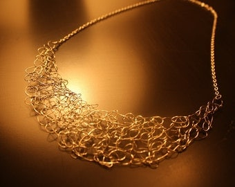 Silver and Gold Wire Crochet Necklace