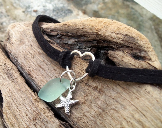 RESERVED Listing for Cheryl, Sea glass jewelry,  Pretty seafoam green sea glass with sterling silver starfish on black suede anklet