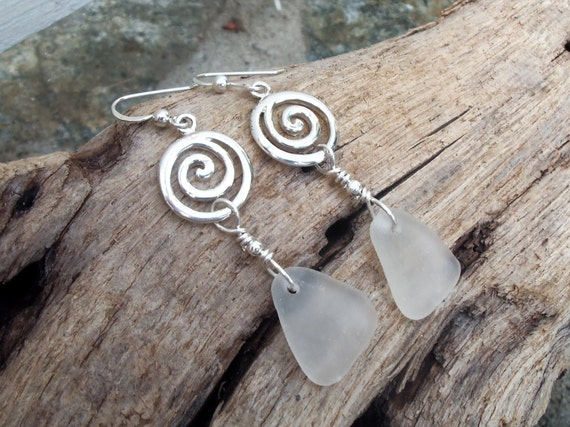 Sea glass jewelry,  Pretty white sea glass and sterling silver swirl earrings