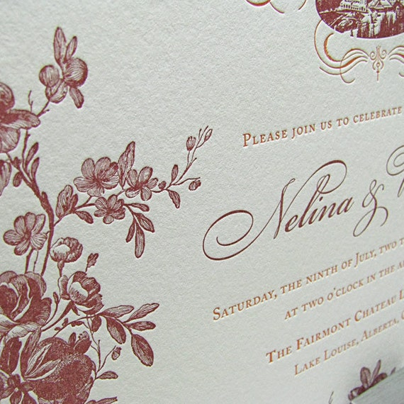Items Similar To Custom Letterpress Wedding Invitations