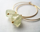 lemongrass. earrings. (soft lemon green prehnite. cube gemstone. 14k gold. jewelry. made to order)