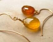 melisseus. earrings. (rich golden yellow chalcedony. teardrop gemstone. 14k gold. jewelry. made to order)