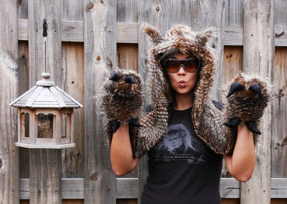 Great Horn Owl Hoodie - Scoodie scarf with mittens and Talons