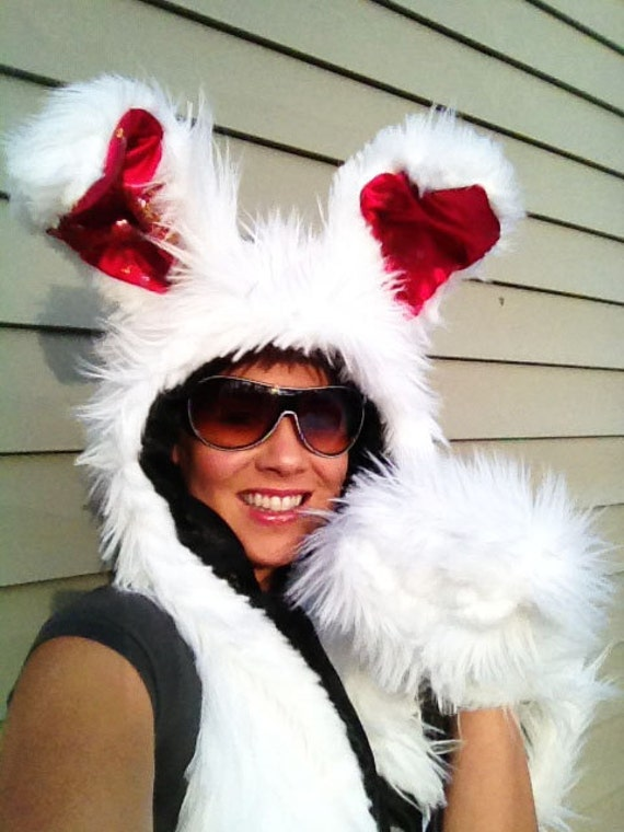 The White Rabbit Hoodie Scarf with Mittens (wired ears)