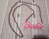 Barbie Pink statement necklace with silver chain last 1
