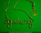 Geekery Word Gold Wire Cursive Letters Name Necklace
