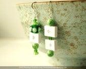 Keyboard Volume Control Keys Green Glass Beaded Earrings