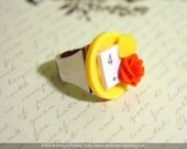 Yellow Number 4 Computer Key Button Rose Ring (Chunky Size)
