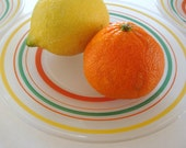 Vintage Glass Dessert Plates - Set of 6 Reverse Frosted Citrus Rings