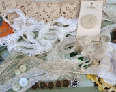 Vintage Lot of Sewing Supplies - Inspirational Kit - Mixed Media - Crochet Lace Lot - Buttons Handkerchief  Wood Spool Needle Case Thimble