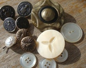Button Lot - Celluloid - Brass and Pearls -  Coat of Arms - Knight - Military