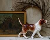 S.A.L.E. 15 % off: LARGE, Vintage porcelain British fox hound big figurine dog friend
