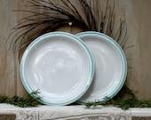 S.A.L.E. 15% off: A set of two restaurantware vintage plates aqua and white large restaurant plates aqua rim
