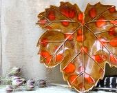 Vintage nutmeg and orange maple leaf serving dish handmade in the 1970s