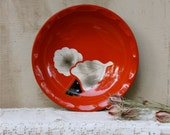 S.A.L.E. 15 % off: Vintage Japanese red serving bowl enamel floral design