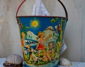 S.A.L.E.: 15% off  Vintage sand pail tin litho 1940s , Made in West Germany, great graphics, collectible