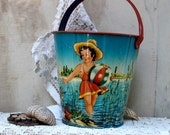 Vintage early 1900s sand pail tin lithograph Made In West Germany children play in alpine lake tin litho pail
