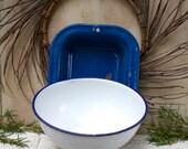 Vintage 1930s Kockums of Sweden enamelware blue and white 18 cm diameter Scandinavian enamelware