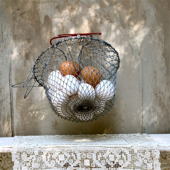 S.A.L.E. 15% off: vintage metal mesh egg basket industrial chic Vintage housewares decor