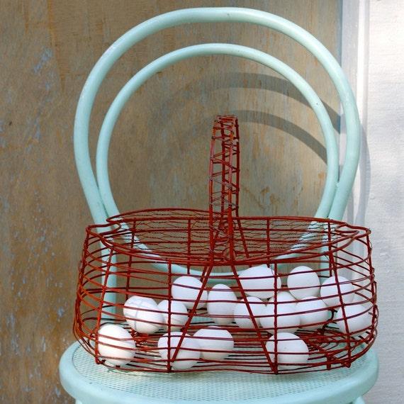 S.A.L.E. 30 % off: Vintage red wire egg basket rustic rural garden basket , spring , red , teal , aqua
