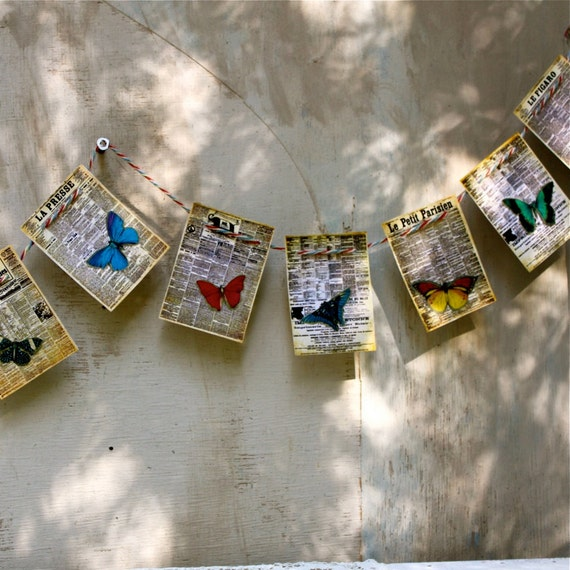 S.A.L.E. 15% off: Handmade Vintage style banner garland bunting vintage French newspaper butterfly Waldorf