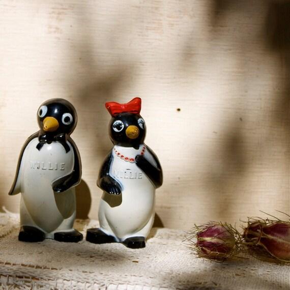 S.A.L.E. 30 % off : Vintage penguin Willie and Millie salt and pepper shakers vintage mid century celluloid penguins