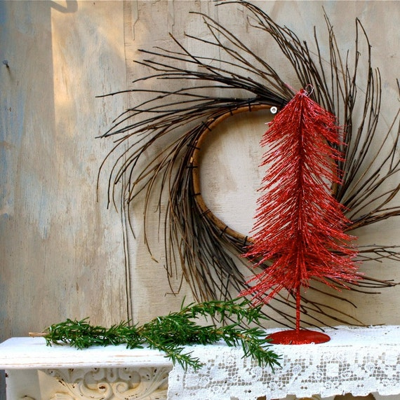 S.A.L.E. 15% off:  Red Vintage bottle brush red Christmas tree mini tabletop tree red rustic tree