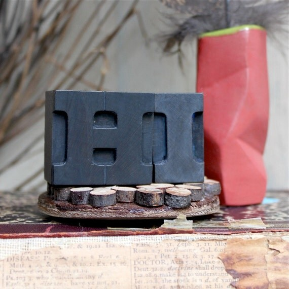 "Antique letterpress wood block ""H.I."" simple valentines for friend or coworker"