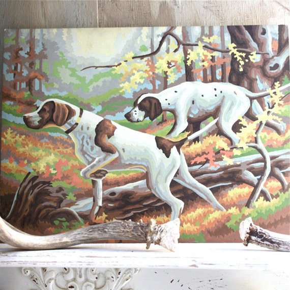 S.A.L.E. 15% off:  Vintage iconic hunting dogs paint by number painting , original oil painting , woodland , woodland creatures