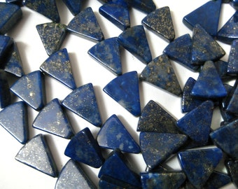 Half Strand of Natural Lapis Lazuli Beads Strands, Super Polish , Trillion Fancy Shape Beads , 14x10 mm size , Flat afghan lapis beads