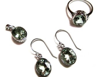 925 Sterling Silver Pendant , Earring , Ring set studded fine quality Faceted Green Amethyst Gemstone 4 pieces set