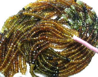 Full Strand of Multi Colour Faceted Tourmaline Beads Strands , Gorgeous Petrol Tourmaline Gemstone 1 bead line