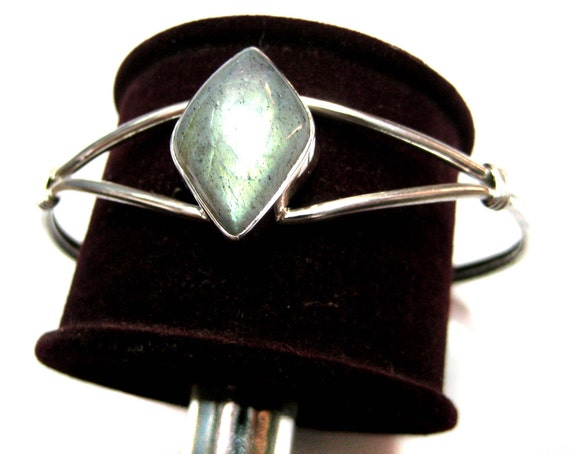 925 Sterling Silver Cuff Bracelet studded with fine quality Flashy Labradorite Marquise Shape Cabochon silver jewellery bangle