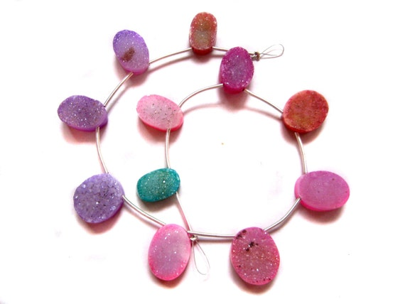 11 pieces of multi colour full druzy briolette beads , smooth polished , fine quality druzy crystals , full strand beads