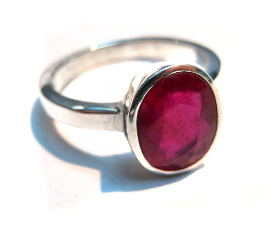 Rhodium Plated Sterling Silver Ring studed Faceted Ruby 11x9 mm oval Pigeon Red Gemstone jewelry beautiful wedding ring christmas giftforher
