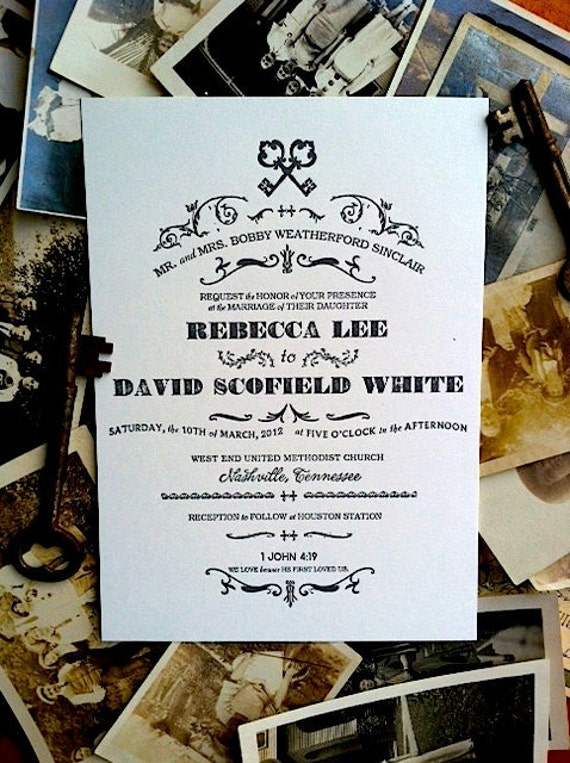 Keys Letterpress Invitation