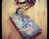 Asian inspired necklace with natural stones